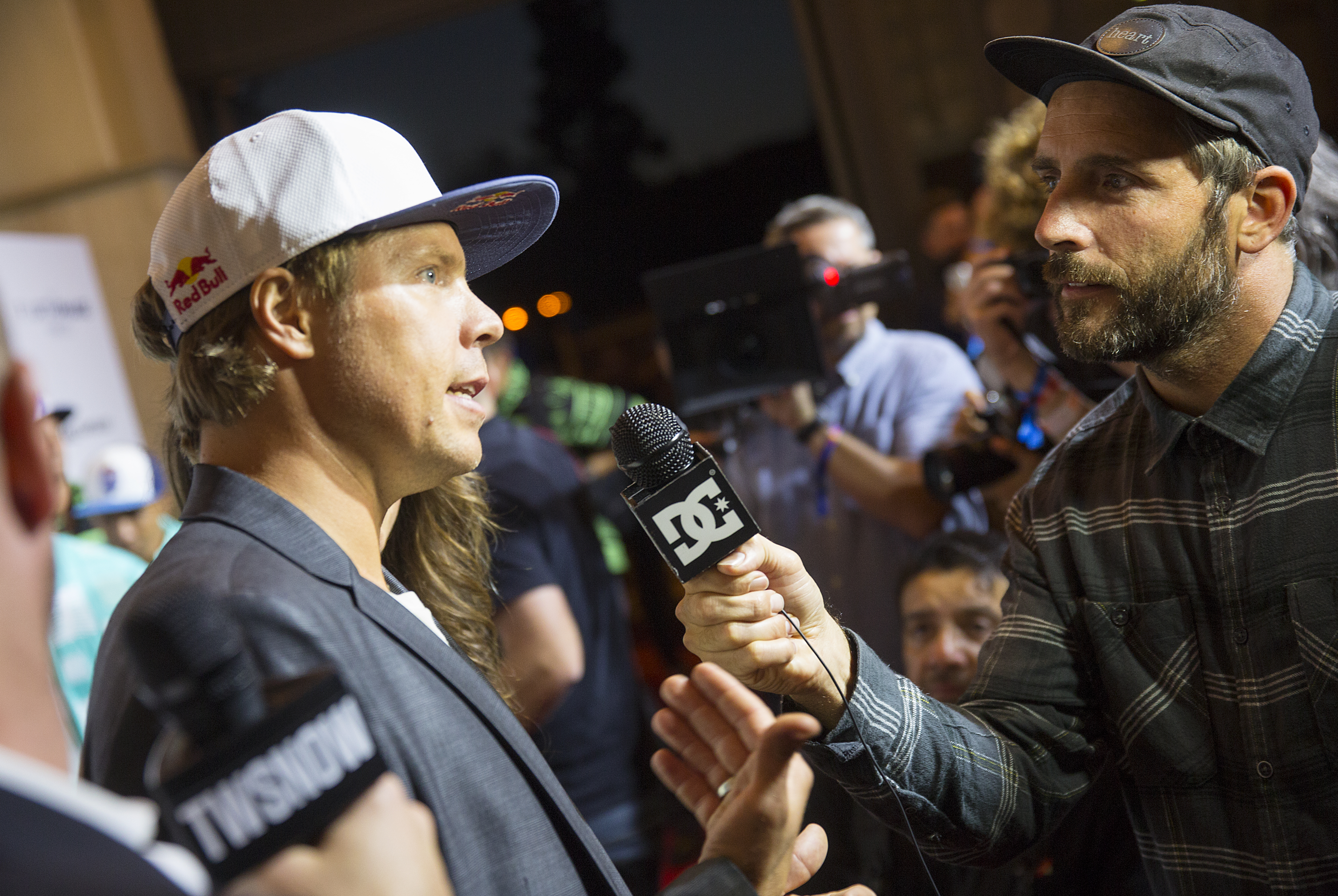 Travis Rice talks to the media at the world premiere of The Fourth Phase, Travis Rice's follow-up to the award-winning Art Of Flight, screened at the Shrine Auditorium in Los Angeles, CA, USA on 8 September, 2016.